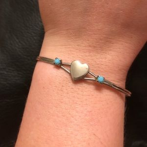 💙Navajo Indian Turquoise Silver Heart Bracelet🌵